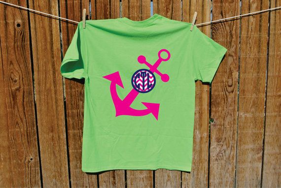 Youth Angled Anchor Chevron Monogram tShirt by T3graphics on Etsy, $14.95