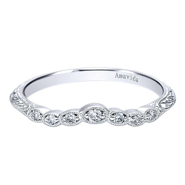 Platinum Victorian Style  Curved Wedding Band With  Diamond