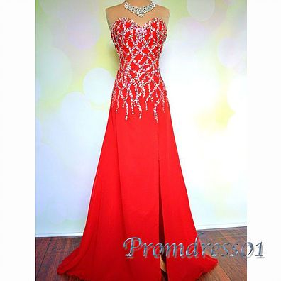 2016 beautiful red chiffon side slit long prom dress with rhinestones, ball gown, evening dress for teens #coniefox #2016prom