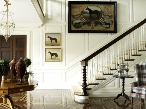 Very cool newel post! Lots of beautiful details like the compass rose inlaid floor, twisty stair spindles and paneled walls. By Anthony Aratta LLC.: Idea, Except, Traditional Stairca, Floors, Stairca Design, Equestrian Chic, Newel Posts, Homes, Equestrian Decor