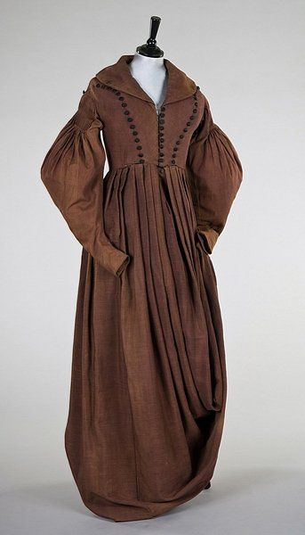 """Rare Side-Saddle (""""Amazone"""") Riding Habit: ca. 1835-1838, wool, buttons, elongated skirt lined with cotton."""