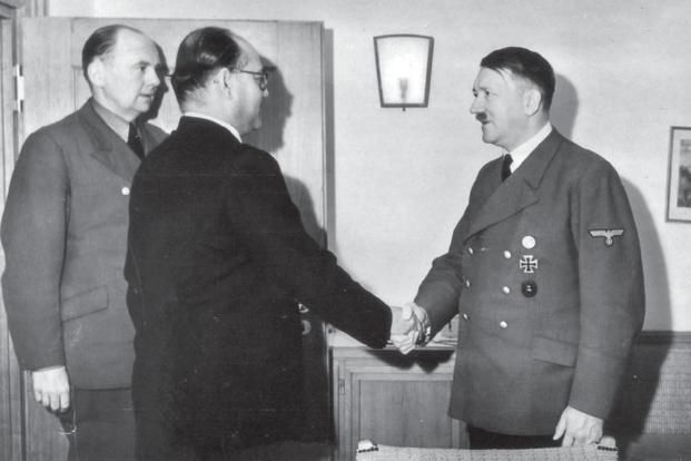 Subhas Chandra Bose with Adolf Hitler (right) at Wolfsschanze, East Prussia, on 27 May 1942.