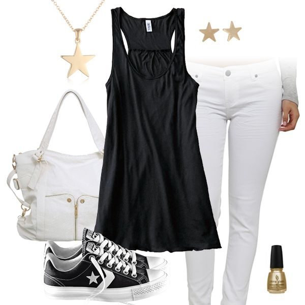 Cute Black Tank Top U0026 White Jeans Outfit With Converse All Stars | New Orleans Saints Fashion ...