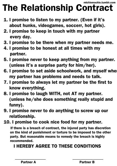 relationship contract - Google Search | awesome | Pinterest ...