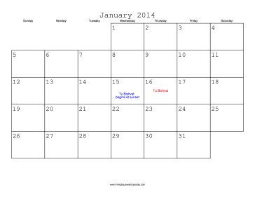 January 2014 Calendar with Jewish holidays, free to download and print