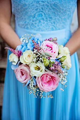 pastel bridesmaids bouquet | Ciaran and Louise's perfectly pastel Borris House wedding by Katie Kav | www.onefabday.com