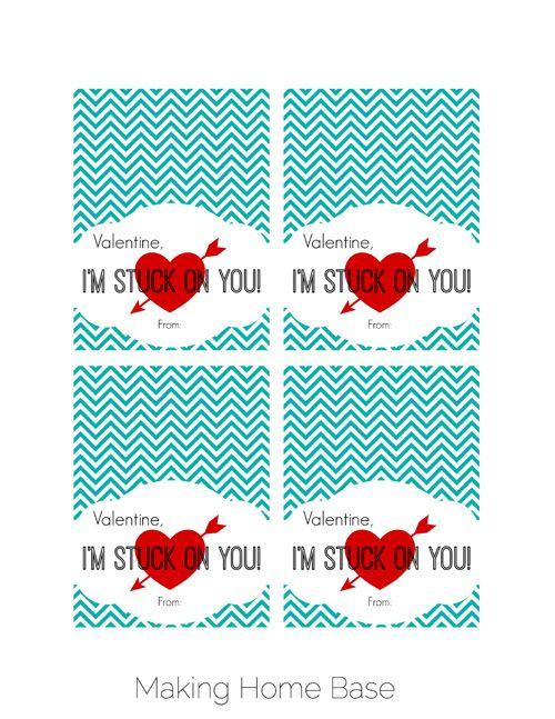 Stuck On You Valentine Printable