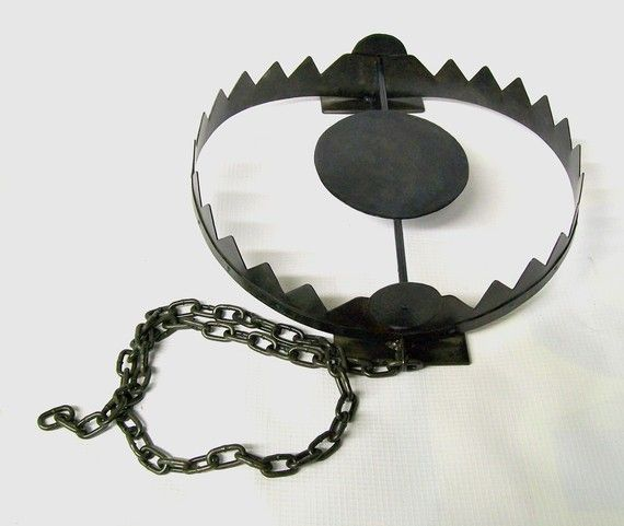 """This would be great for my front porch.  """"Bear trap also good for Raccoons, satanic squirrels, and noisy neighbor children"""""""