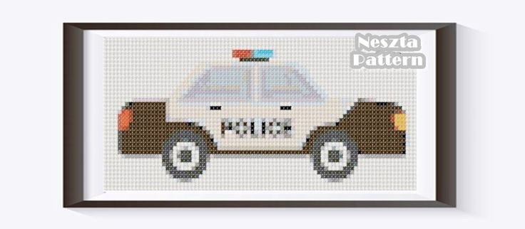 https://etsy.me/2HaJE1Q #supplies #crossstitch #embroidery #crossstitchpattern #xstitch #aidacloth #graphembroidery #embroiderypattern #xstitchpattern #policecar #police #policecarcrossstitch #boygift #roomdecor