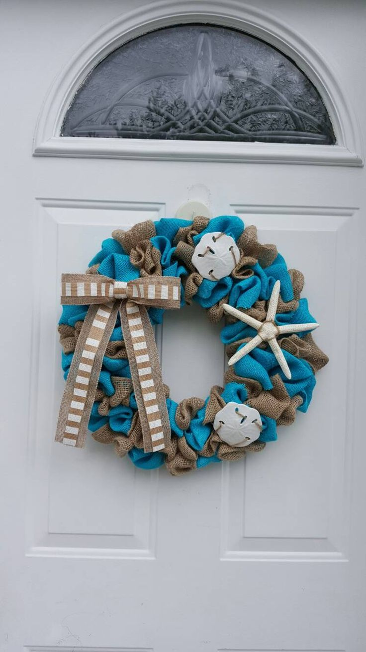Beach Wreath, Beach Burlap Wreath,  Summer Wreath, Starfish Wreath, Coastal Wreath, Coastal Decor, Beach Decor by justwreathsbysusan on Etsy https://www.etsy.com/listing/515465324/beach-wreath-beach-burlap-wreath-summer