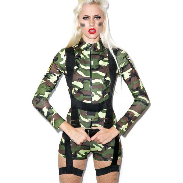 Sexy Army Girl Costume (155 BRL) ❤ liked on Polyvore featuring costumes, sexy slip, camo halloween costumes, sexy camo costume, sexy halloween costumes and army costume
