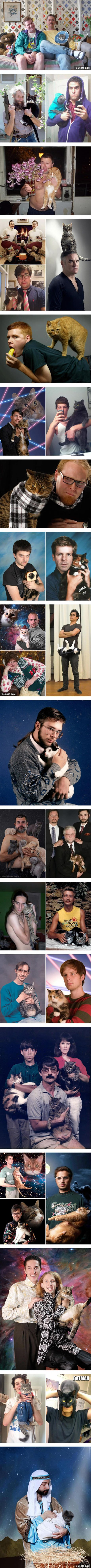Awkward Pictures Of Men And Cats
