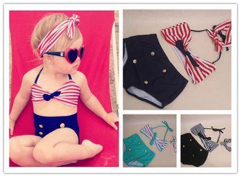 Lindo bebé niñas rain bow Fringe Bikini swim traje de baño para el niño de la alta cintura del niño del traje de baño de mar Biquini infantils