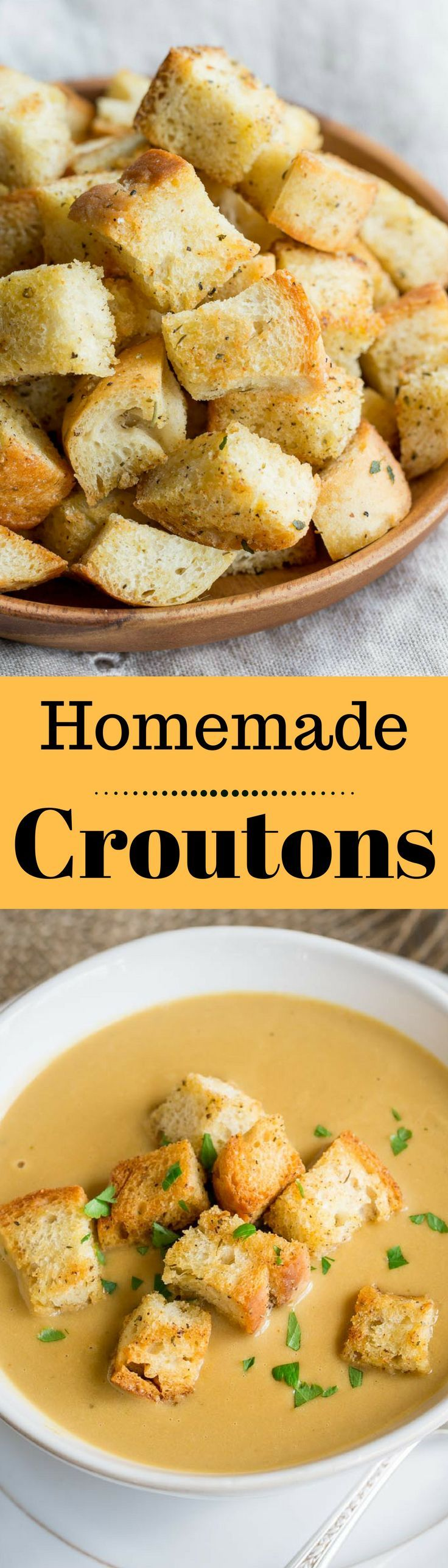 Homemade Croutons - Crispy, garlic and herb flavored Homemade Croutons - you may never want store bought again! www.savingdessert.com
