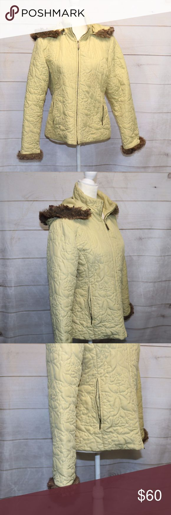 CAbi lemon yellow quilted jacket size Large EUC CAbi light yellow jacket faux fur detail on the sleeves and hood Style: 362 100% Polyester CAbi Jackets & Coats