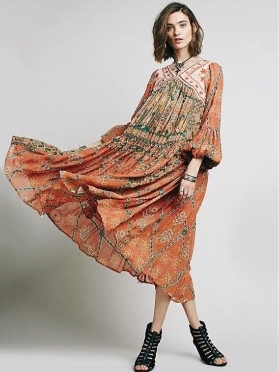 e8ae498d633 New Free People Pink City Printed Embroidered Festival Boho Kaftan Dress PS