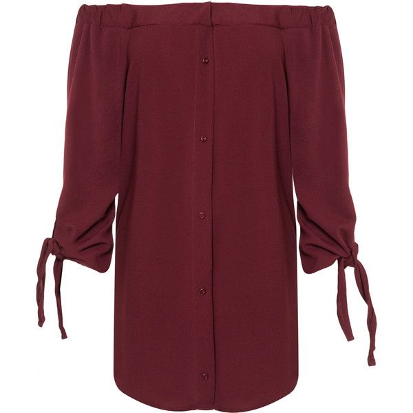 Sandra Tie Sleeve Bardot Top ($40) ❤ liked on Polyvore featuring plus size women's fashion, plus size clothing, plus size tops, plus size, wine, women's plus size tops, red off the shoulder top, off shoulder long sleeve top, sleeve top and off shoulder tops