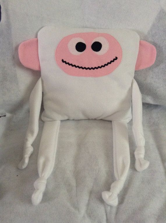 White Monkey Huggle Buddy Cushion by SewingSunbeams on Etsy