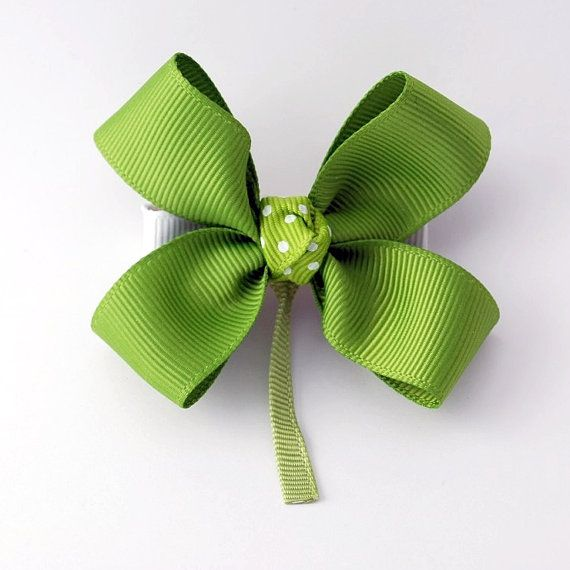 St Patrick's Day Hair Bow Shamrock Hair by SpunkyBunnyBoutique, $5.00