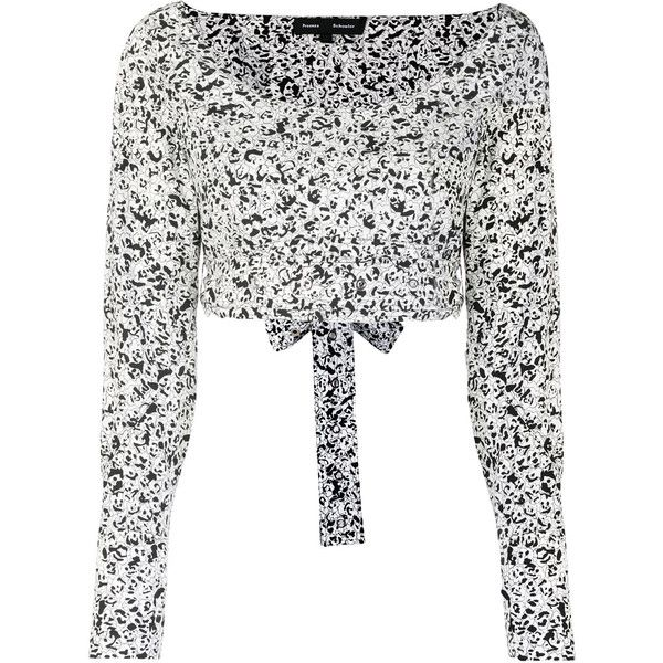 Proenza Schouler cropped wrap top ($673) ❤ liked on Polyvore featuring tops, white, wrap crop top, wrap tops, cut-out crop tops, white boatneck top and long sleeve tops
