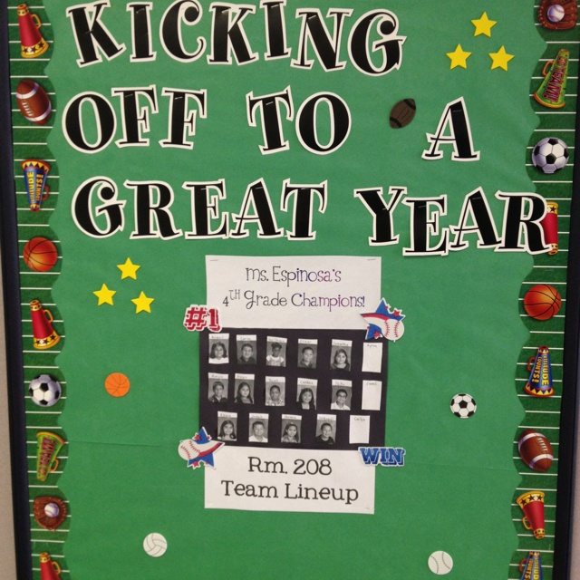 Sports Theme Class Bulletin Board add teach pictures on sports figurines & 206 best PTA Team Up for Learning images on Pinterest | Classroom ...