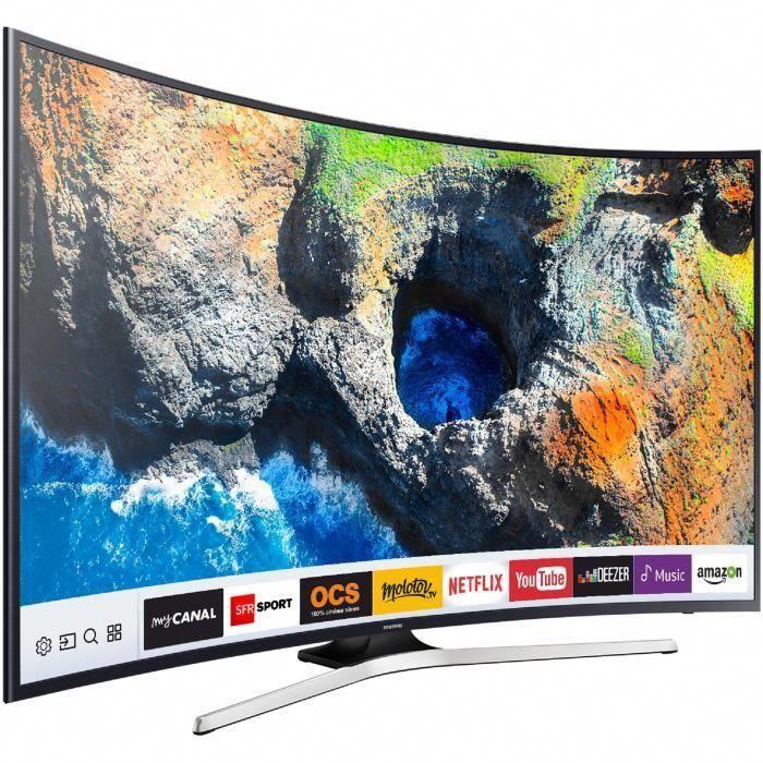 5538fc632 Résolution   3840 x 2160 - Design incurvé - Smart TV - 1400 PQI - Mega