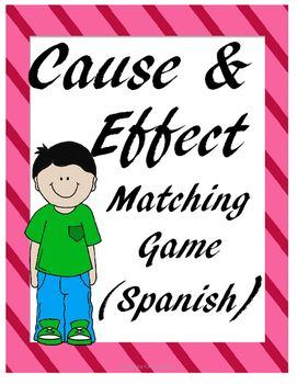 Cause and Effect matching game:  Includes 2 sets of 24 cards each one (48 cards) total.  Students will be able to identify cause and effect relationships using this game.  Includes:Set #112 causas12 efectosSet #212 causas12 efectosAnswer keyThanks for buying my product,Cantu's Educational ToolsIf interested in Spanish products visit my store Cantu Creations.Other Spanish products:Types of sentences (Spanish)Writing prompts (Spanish)Cause and Effect - Causa y Efecto Task Cards