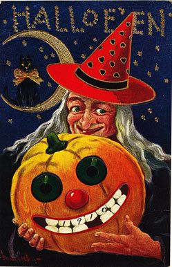 halloween witch black cat pumpkin pc magnet h67 - Vintage Halloween Witches