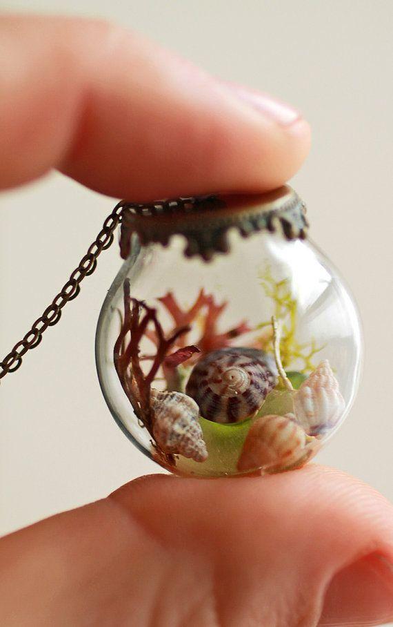 Sea terrarium globe necklace , sea glass jewelry , real seashell , beach glass , Irish seaweed jewelry , beach necklace , nautical wedding on Etsy, $48.48