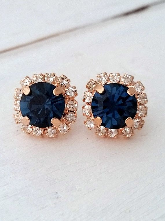 Rose Gold Navy Blue Earrings Bridesmaid Gifts Studs Swarovski Crystal Stud Bridal Lovely And Chic
