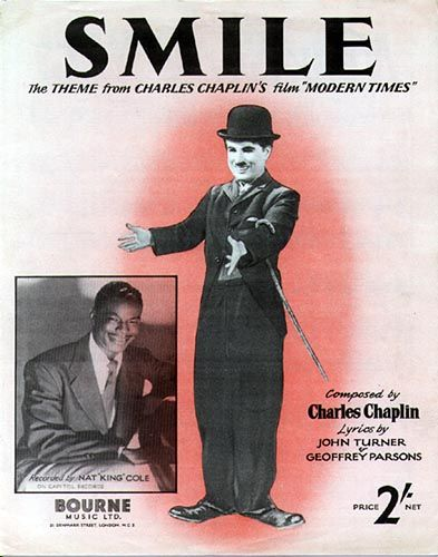 "SMILE"" originated as instrumental theme music, composed by Charlie Chaplin, for a soundtrack in the 1936 silent movie Modern Times. Description from mjjcommunity.com. I searched for this on bing.com/images"