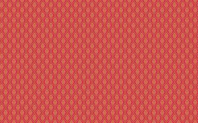 текстуры, фон, красный, узоры, орнамент, мелкий рисунок, волны, ромбы, листья, цветы, обои, винтаж