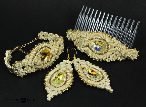Wedding soutache set, orecchini soutache, soutache bilateral, Swarovski, boucles d'oreilles soutache, soutache bracelet, haircomb