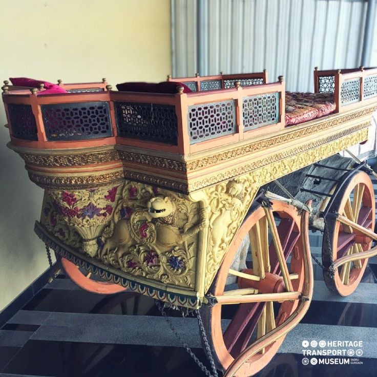 A 1860 Oxen Rath from Gujarat with exquisite animal and floral carvings!  #vintagetransport #vintagecollection #classiccollection #rath #carving #incredibleindia #heritagetransportmuseum #museum