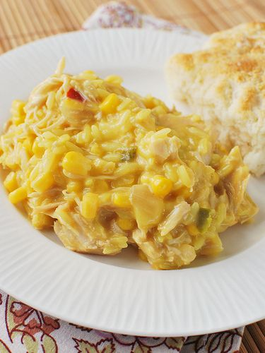 Slow Cooker Cheesy Chicken and Rice - Fake Ginger