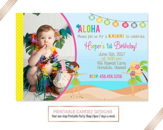 Luau Pool Party Invitation  Luau Birthday by printablecandee