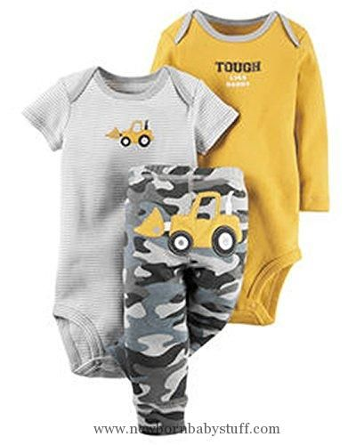 Baby Boy Clothes Carter's Baby Boys 3 Pc Back Art 126g401, Yellow, 24 Months