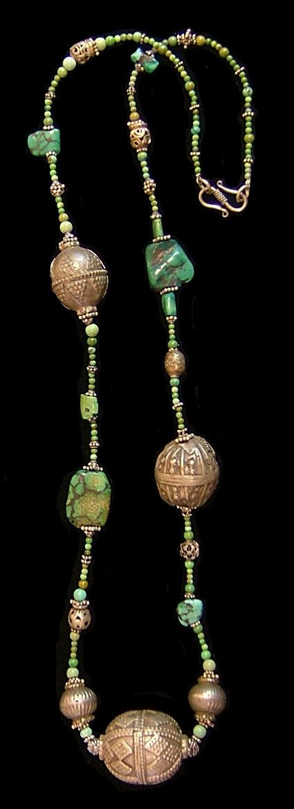 Old Yemen silver beads and turquoise necklace