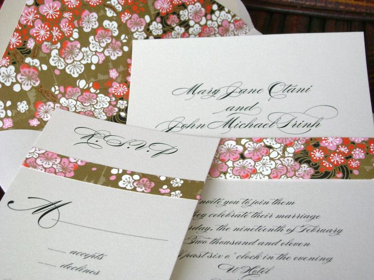 Asian Wedding Invitation With Cherry Blossoms And By Tuccipaperco