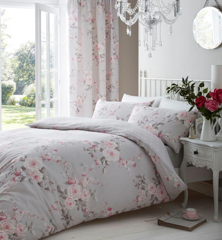 Romantic bedroom| Sypialnia w romantycznej odsłonie  #romantic #bedding #roses #flowers #dekoria #bedtime #bedroom #elegante #soft #interior #furniture #bed