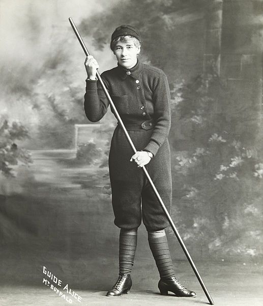 Alice Manfield (1878–1960), commonly known as Guide Alice, was a mountain guide, amateur naturalist, chalet owner, photographer, and early feminist figure from Victoria, Australia. Her pioneering work at Mount Buffalo from the 1890s to the 1930s led to her becoming a tourist attraction in her own right, and helped lead to the establishment of the Mount Buffalo National Park.
