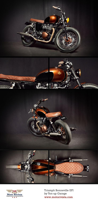 #Triumph Bonneville EFI by Ton-up Garage ~ featured on www.motorivista.com #Custom #motorcycle #Portugal ~