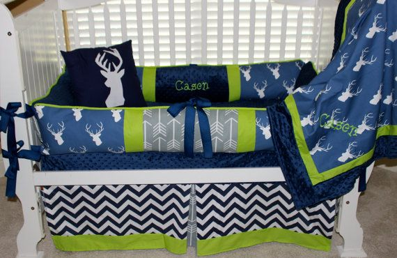 Custom baby bedding 6 pc set woodland deer by BabiesNBaubles