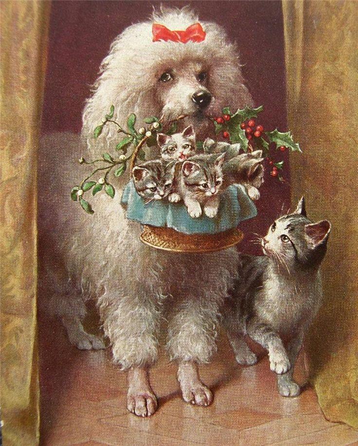 собачки на ретро открытках умолчанию