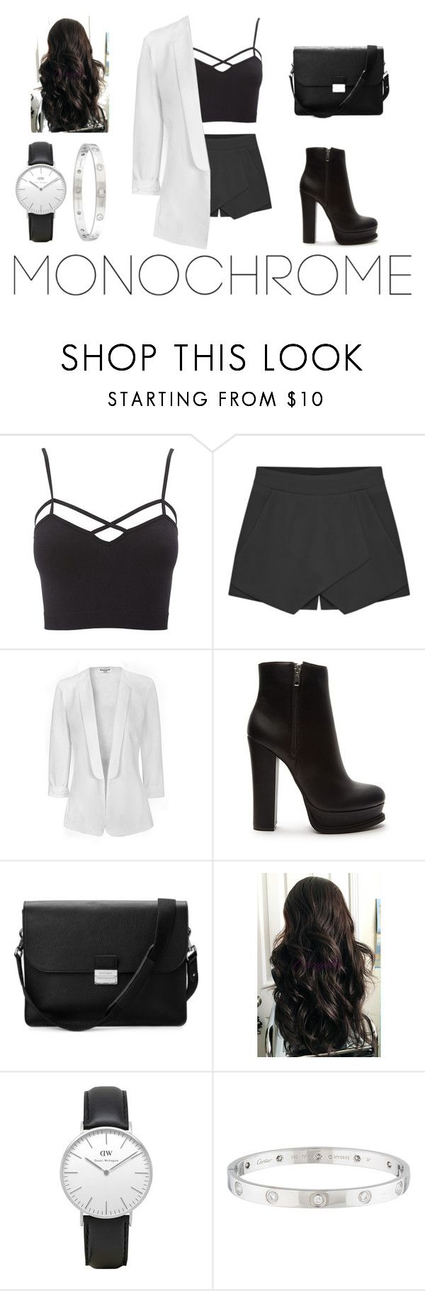 """""""Make It Monochrome"""" by lilyrose2000 on Polyvore featuring Charlotte Russe, Glamorous, Forever 21, Aspinal of London, Daniel Wellington, Cartier and monochrome"""