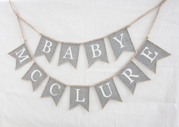 Burlap Baby Banner, custom surname banner, baby shower, photo prop, Personalized Shower Decor,  Shower Decor,Baby Shower Decoration