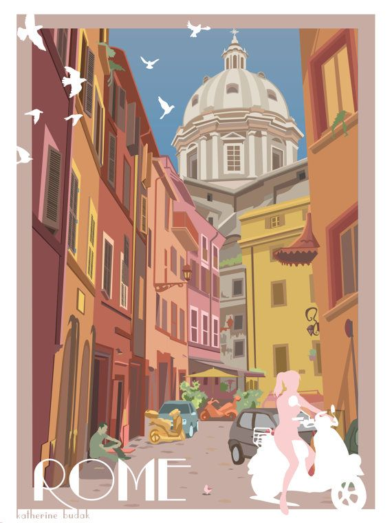 Rome Travel Poster Day by ParadoxParade on Etsy, $18.00