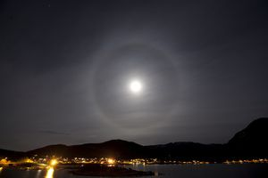 What Is That Ring Around the Moon?: A lunar halo is caused by ice particles in the earth's atmosphere, as seen in this photo taken in Tromsø, Norway.