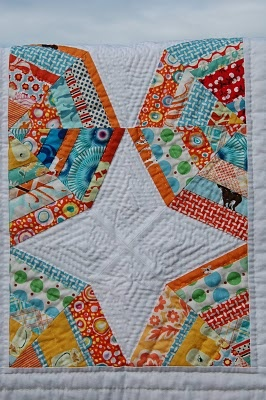 Octagonal blue and orange  Note to self: check ou the quilting!!
