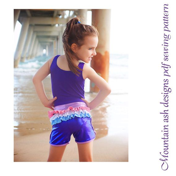 Gymnastics and dance shorts 4 sewing pattern sports shorts ruffle butt shorts pdf pattern in girls sizes 2-14